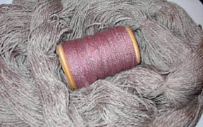 pink/grey 2ply yarn